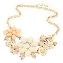 New Lady Bauhinia Flower Temperament Necklace metal bright Colorful Resin Big Flower Golden Chain Choker Bib Necklace