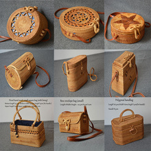 Hand-made rattan bag quality woven round storage polygon womens shoulder summer straw 25 different styles