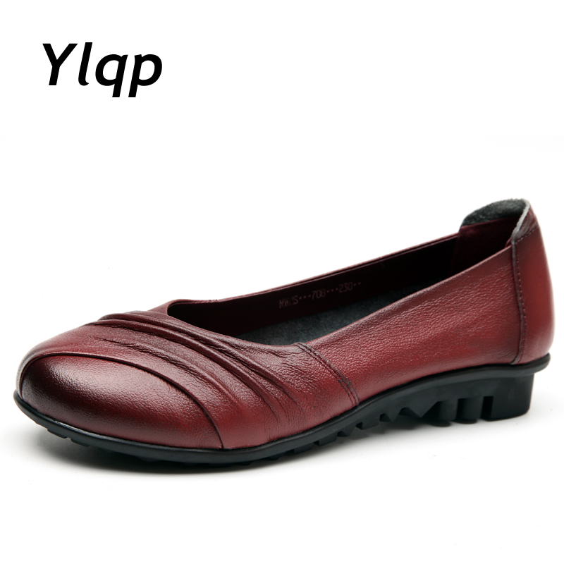 Mode Femmes ballerines en cuir véritable Mocassins été femme Chaussures Casual Flat Slip confortable sur les chaussures EBY3ZCh