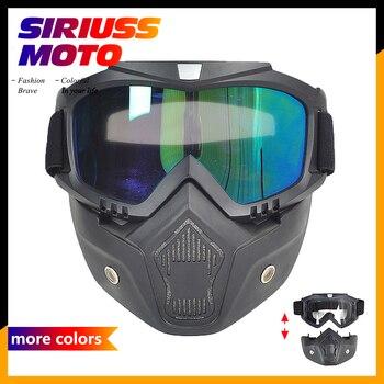 Detachable Motorcycle Goggles Glasses Mask Visor Ski Snowboard Motocross Oculos Gafas for Open Face Motorcycle Half Helmet