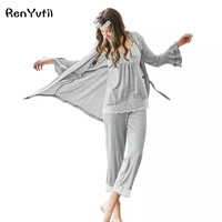Women Plus Size XXL Pajamas Set 3 Piece Sweatshirt+Pant+Robe Pajama Sets Sexy Lace V Neck Homewear Sleep Lady Pyjamas Sleepwear