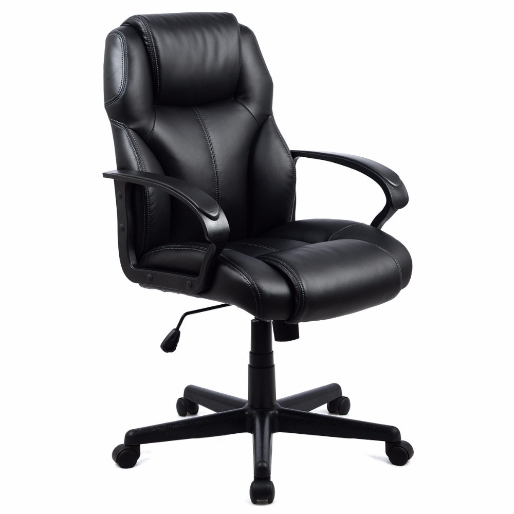 Goplus Black PU Leather Ergonomic High Back Office Chair Executive Computer Desk Task Gaming Chair Lift Swivel ArmChair CB10053 240340 high quality back pillow office chair 3d handrail function computer household ergonomic chair 360 degree rotating seat