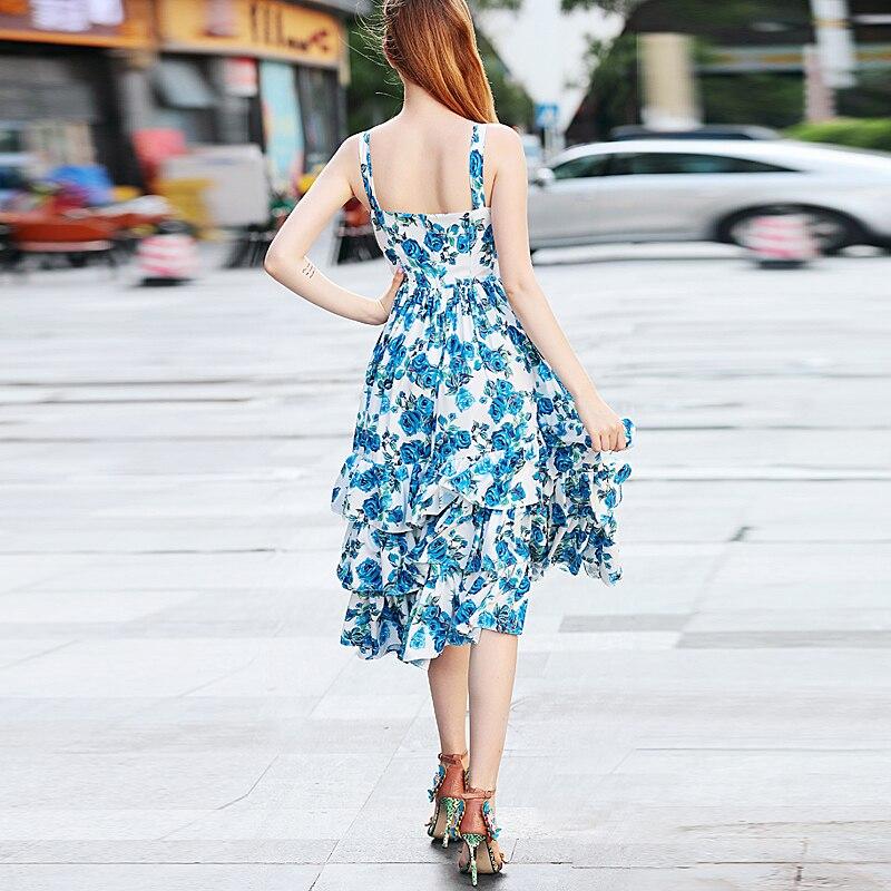 Vintage Sexy Robe Qualité Longue Élégant Nouvelles Bleu Multi Haute Imprimer Mode Chic D'été Robes De Piste Femmes 2018 Boho Plage Partie Rose vm8N0wnO