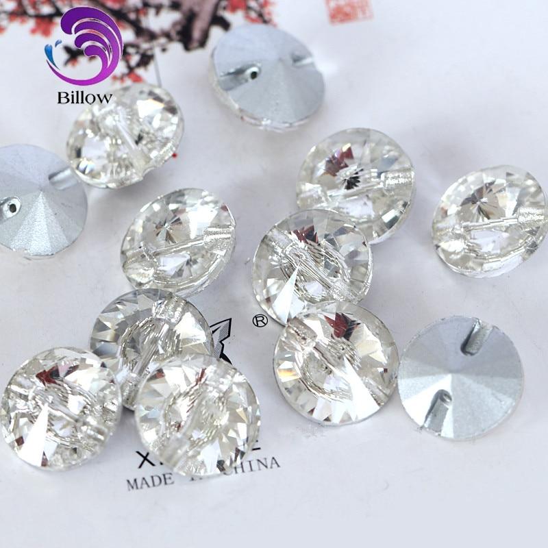 Clear Glass Crystal Round Rivoli Pointback Sew On Rhinestones Glass Strass Sew-On Rhinestone For Women Dress Decoration B3396