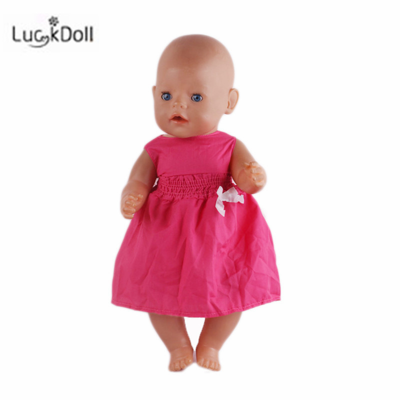 LUCKDOLL Fashion Summer New Dress Fit 18Inch American 43cm Baby Doll Clothes Accessories,Girls Toys,Generation,Birthday Gift