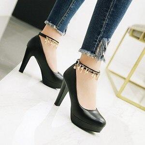 Image 2 - Große Größe 11 12 13 14 15 16 17 damen high heels frauen schuhe frau pumpen Paket die ferse Paket zehen Dick mit sandalen