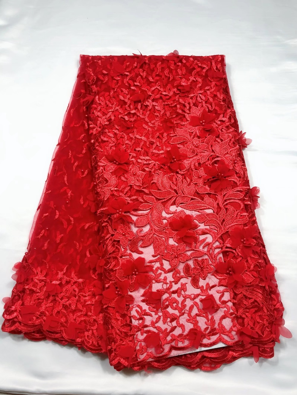 2019 French Lace Fabric Wedding Red White 3 D Applique Beads African Tulle Lace Fabric 3D