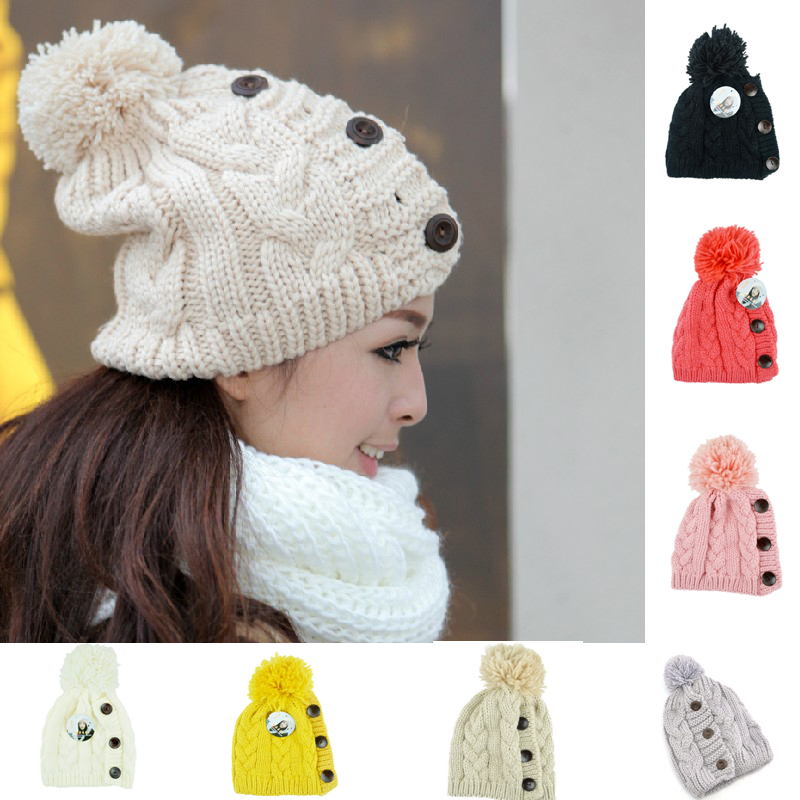 1Pcs High Quality Ball Cap Warm Winter Hat For Women Girl 's Hat Knitted Beanies Hat Thick Female Cap Bonnet Femme Gorros
