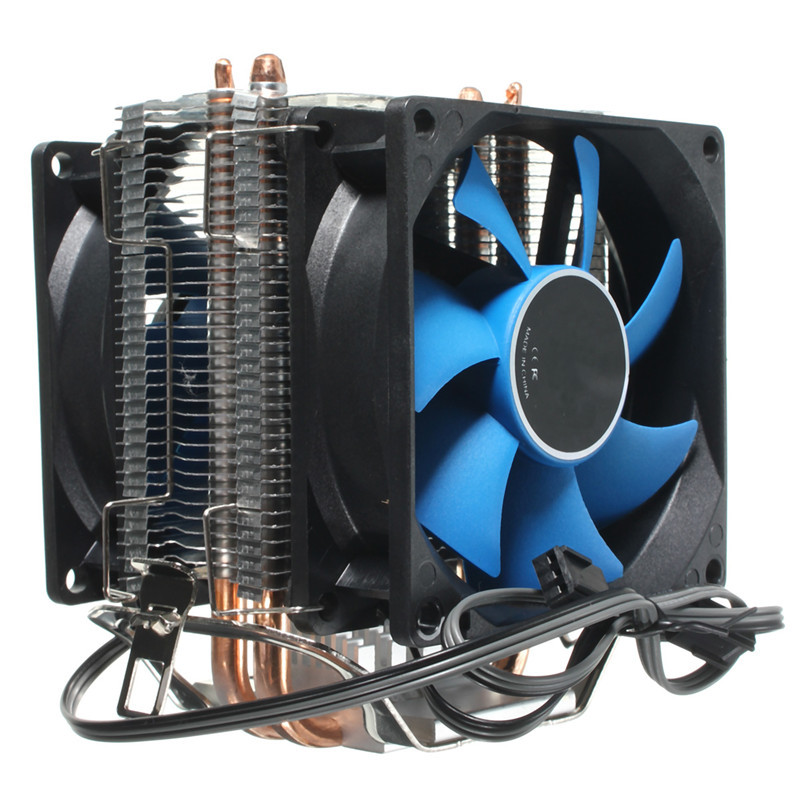 CPU Radiator Dual Fan CPU Quiet Cooler Heatsink Dual 80mm Silent Fan 2 Heatpipe For Intel LGA775/1156/1155 AMD AM2/AM2+/AM3 new pc cpu cooler cooling fan heatsink for intel lga775 1155 amd am2 am3 a97