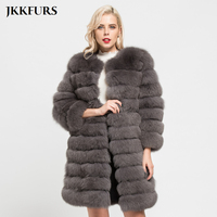 JKKFURS 2018 Winter Warm Real Fox Fur Long Coats 11 Rows Women's Top Quality Outerwear Genuine Fur Jacket Overcoat S7169