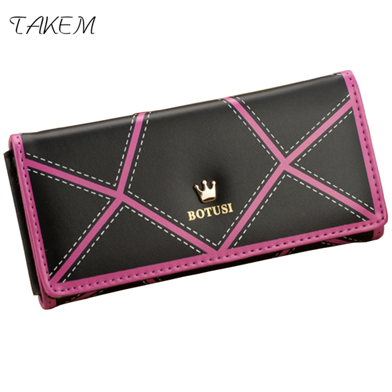 TAKEM 2018 PU Leather Women hasp Long Wallet Ladies Purse Female Wallets Purse Card Holder coin cash bag Portefeuille femme hot sale owl pattern wallet women zipper coin purse long wallets credit card holder money cash bag ladies purses