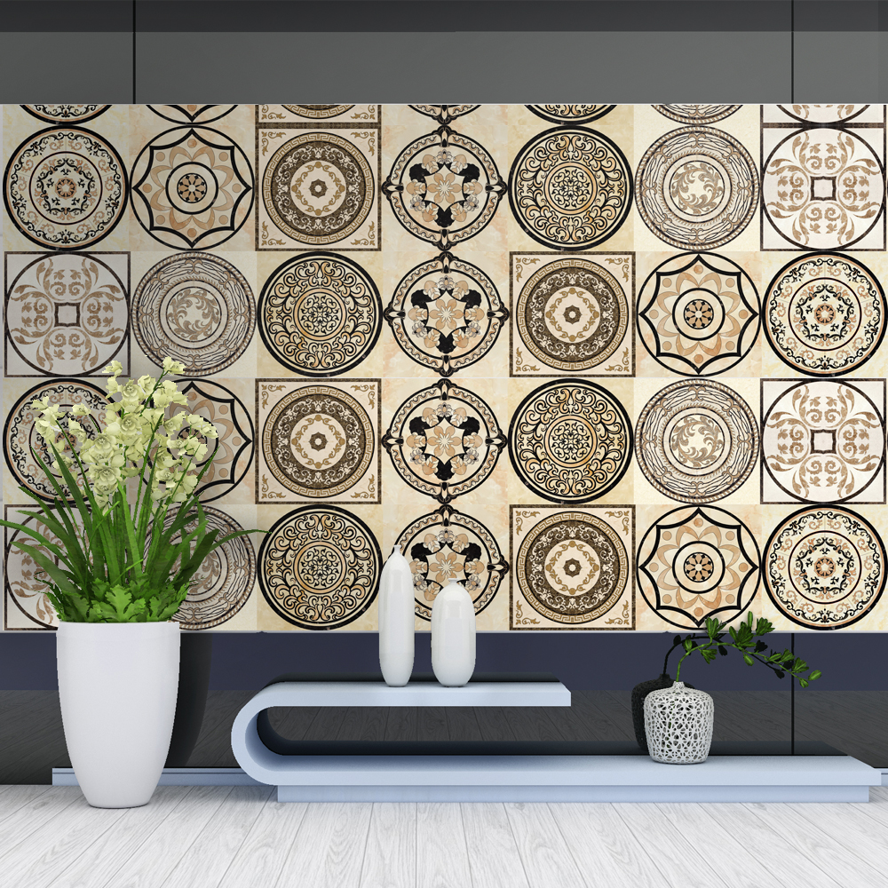 Creative 1 Roll 0.2x5m Tiles Stickers Waist Line Retro Mosaic  Wall Sticker  Kitchen Cabinet Toilet Border Waterproof Home Decor
