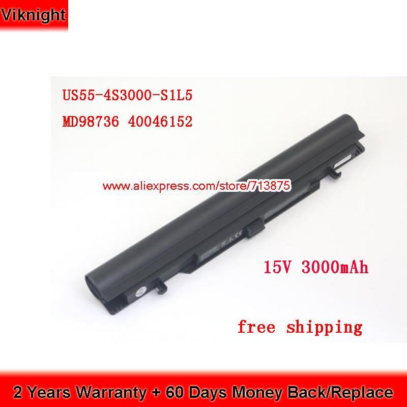US55-4S3000-S1L5 Batterie D'origine Pour Medion Akoya S6212T MD99270 MD 98456 MD98736 S6615T 40046929 15 V 3000 mAh