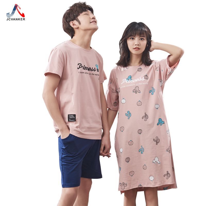 JCVANKER 100% Cotton Couples Sleepwear For Women Man 2018 Summer New Fashion Female Nightgowns Male Pyjamas Suit Home Clothing