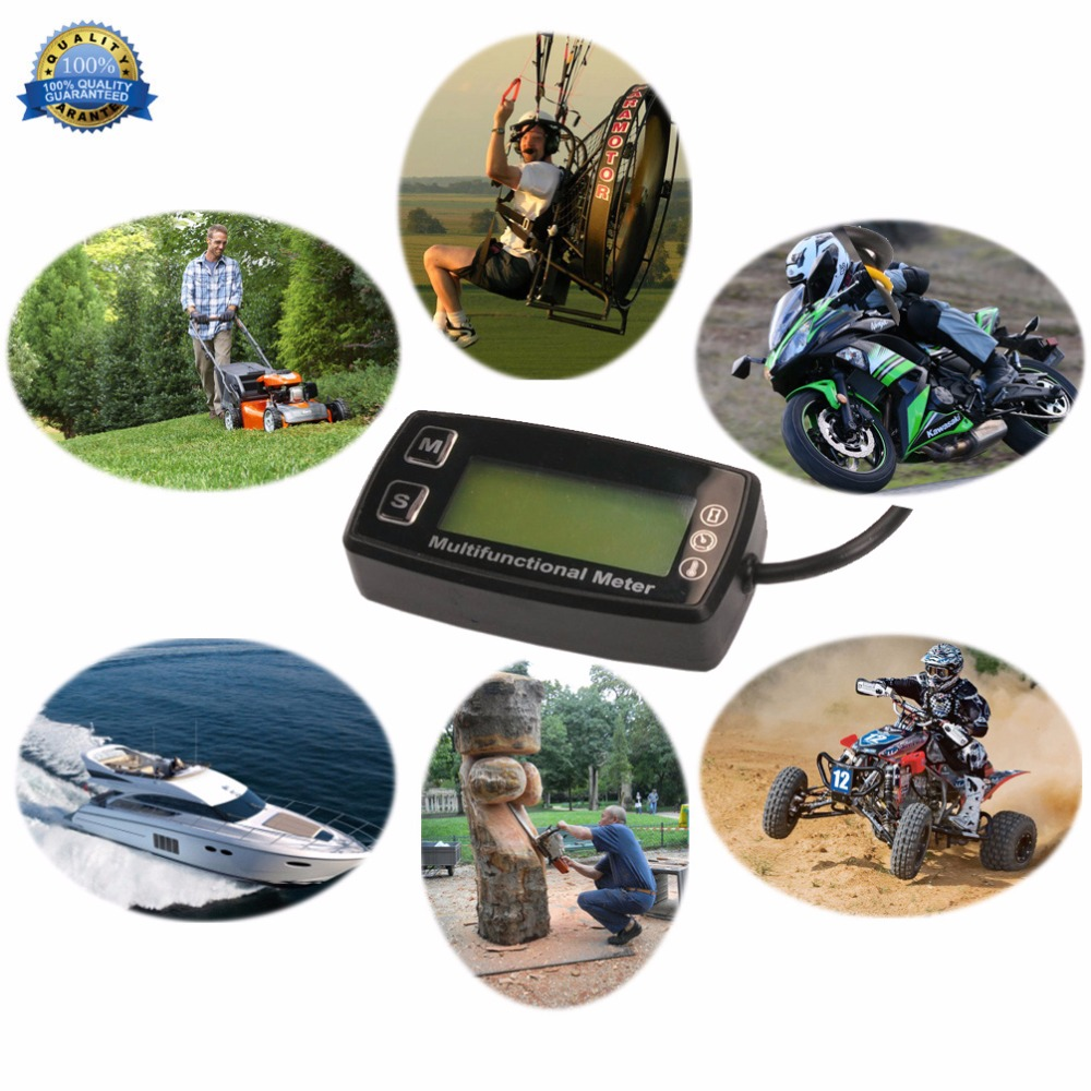 Image 3 - Digital Tachometer Tach Hour Meter Thermometer Temp Meter for gas engine marine ATV buggy tractor pit bike paramotor RL HM035T-in Instruments from Automobiles & Motorcycles
