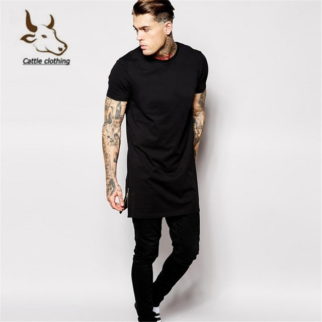 Black men tshirt Hip Hop long style 100% cotton Short sleeved Alloy side  zipper T Shirt New Arrival Free Shipping b7126fdc503