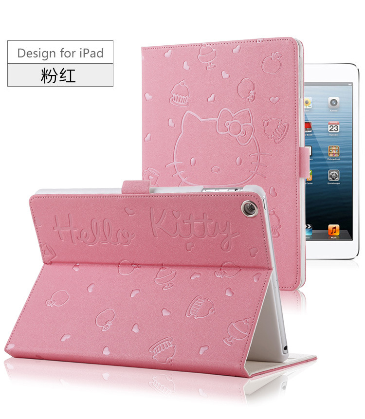 For iPad MiNi 4 KT Cover Stand PU Leather For Apple ipad MiNi 4 Case Tablet Cover New Cute Cartoon 3D Button Hello Kitty Case