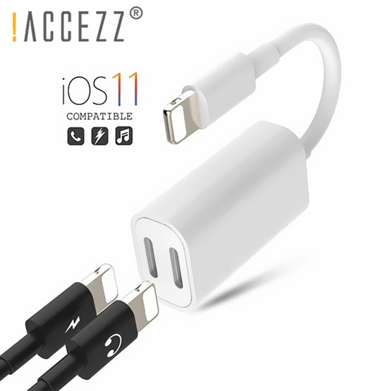 ACCEZZ 3 IN 1 Dual Lighting Charge Earphone Adapter For IPhone X XR XS MAX 7 8 Plus Calling Listening Audio Charging IOS 11 12 in Phone Adapters Converters from Cellphones Telecommunications