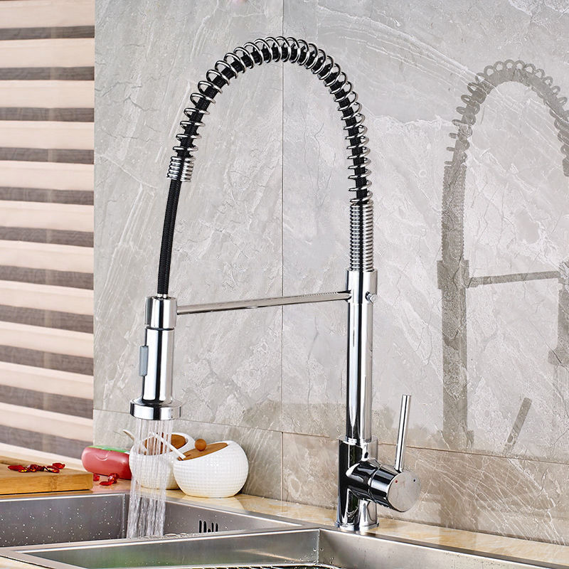 Spring Style Kitchen Faucet Chrome Faucet Pull Out