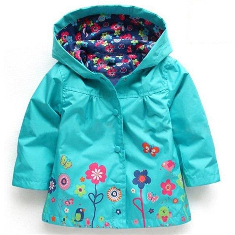 2016 Fashion Cute Kids Girls Flowers Wind Rain Jacket Hooded Long ...
