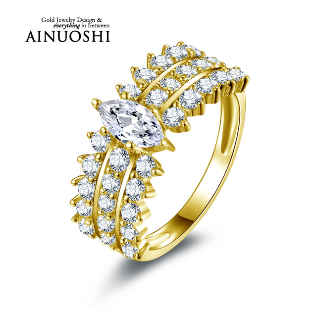 AINUOSHI 10k Solid Yellow Gold Trendy Female Ring Jewelry Marquise Cut Simulated Diamond Ring 3 Rows Drill for Women Engagement