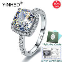 Sent Silver Certificate! YINHED Square 5A Cubic Zirconia Wedding Rings for Women 925 Sterling Silver Engagement Jewelry ZR561