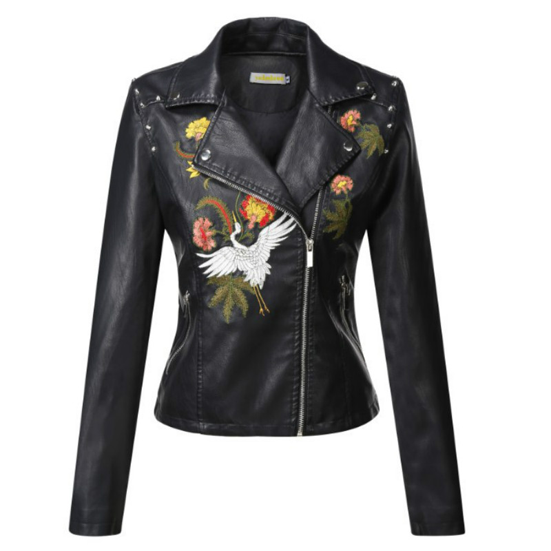 Women Bomber Flower Embroidered Faux   Leather   Jacket Motorcycle PU Coat Slim High Waist Floral embroidery Lapel Rivets Cardigan