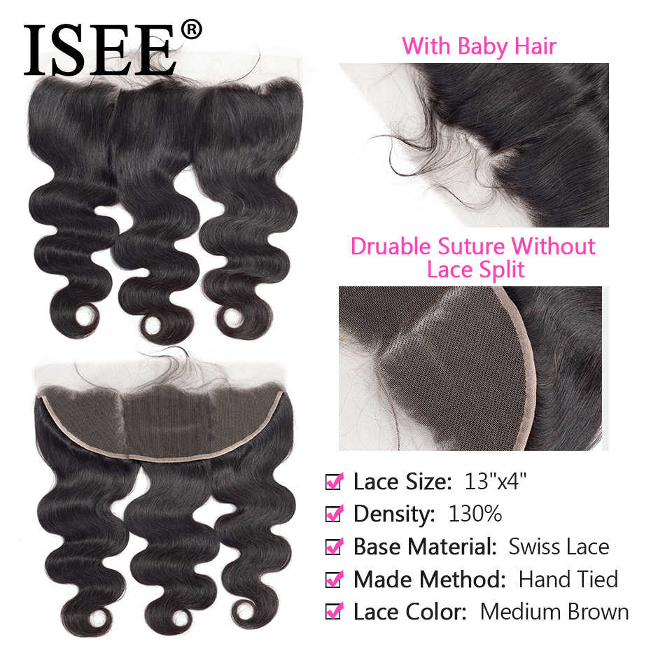 ISEE волосы бразильские тела волна пучки с фронтальным 100% Remy человеческие волосы пучки с закрытием 13*4 Кружева Фронтальная с пучками