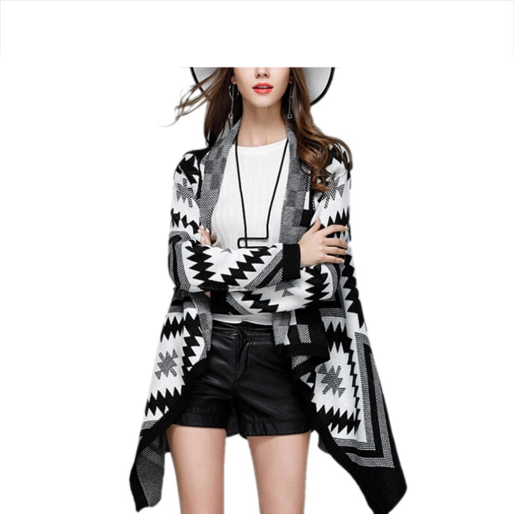 Sweater Cardigan Coat Geometric Loose Autumn Winter Femal Casual Full