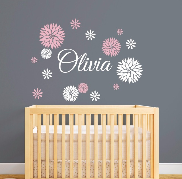 Aliexpresscom Buy Personalized Name Wall Decal With Dahlia - Custom vinyl wall decals flowers
