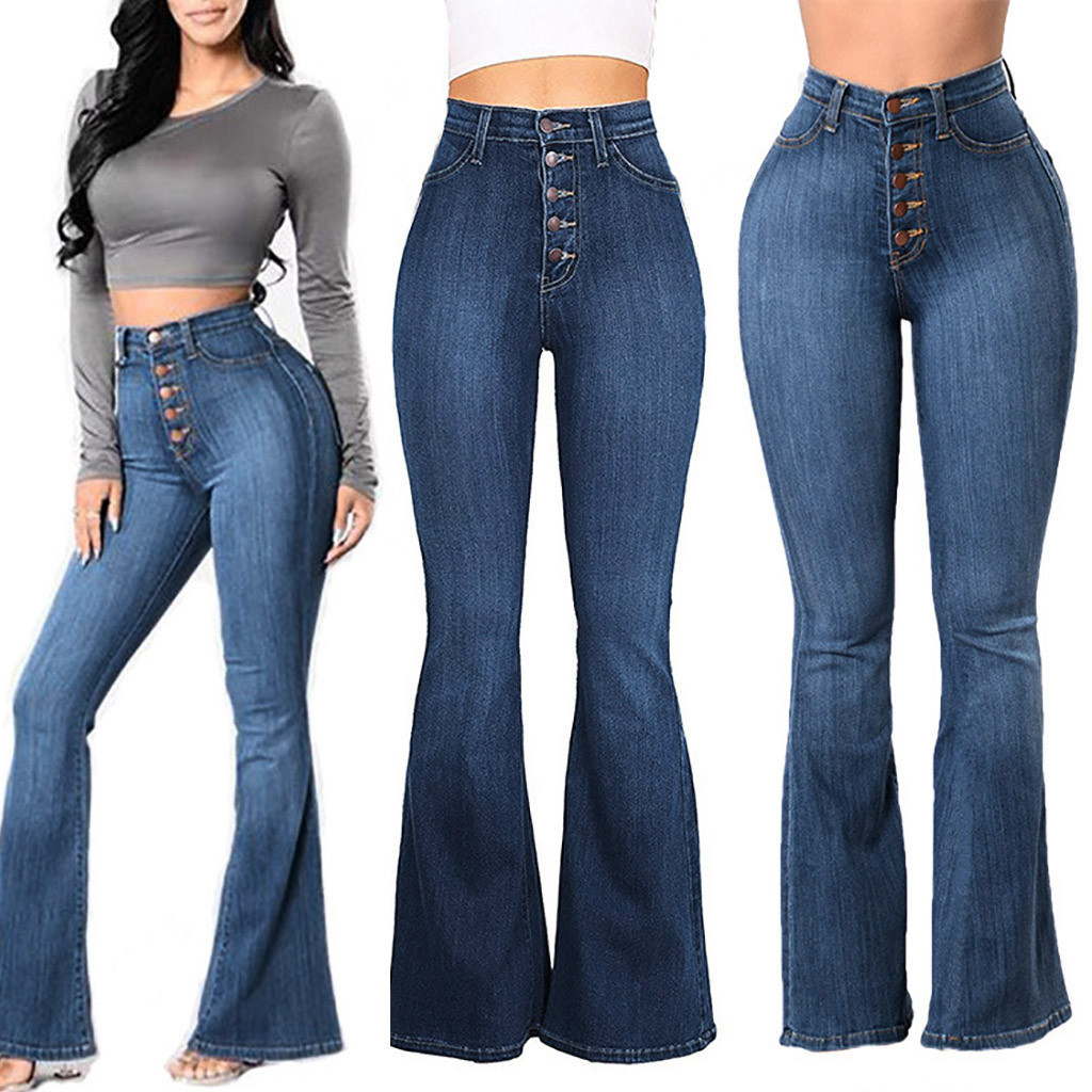 Women Autumn Elastic Plus Loose Denim Pocket Button High Waist   Jeans   new Pocket Button Casual Boot Cut Pant   Jeans     jeans   A416