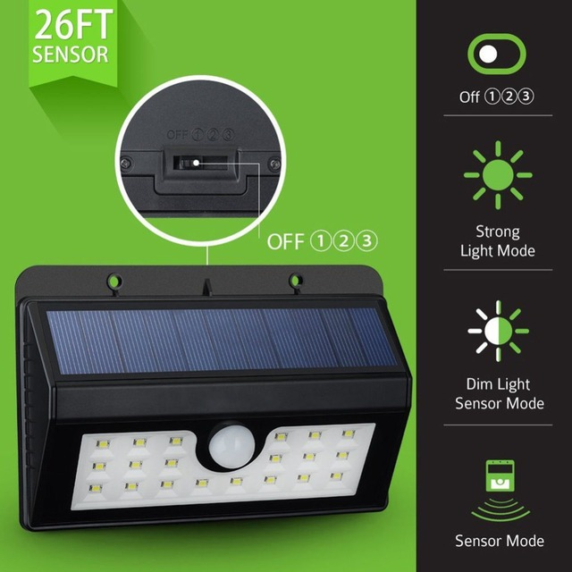 U-EASY Solar Light for Garden LED Wall Light Weatherproof PIR Motion Sensor Lamp for Porch Fence Warehouse with 3 Modes