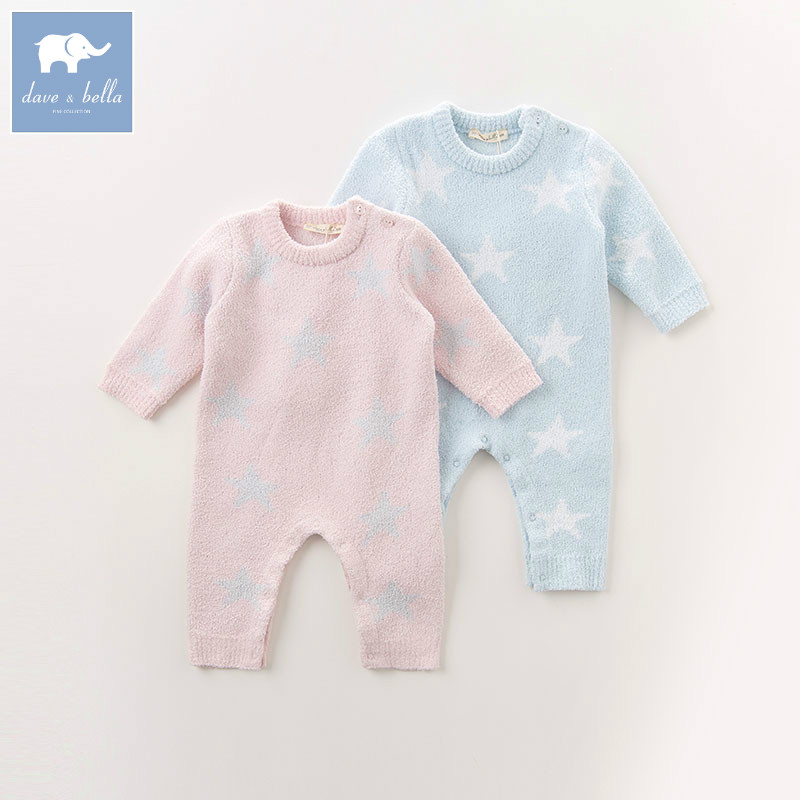 DB6020 dave bella autumn new born baby girls boys knitted sweater   romper   infant toddler children stars printed clothes