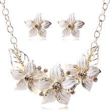 Fashion Zinc Alloy Austrian Crystal Enamel Flower Jewelry Sets Women African Costume Jewelry Maxi Necklace Earring Set PWS0001