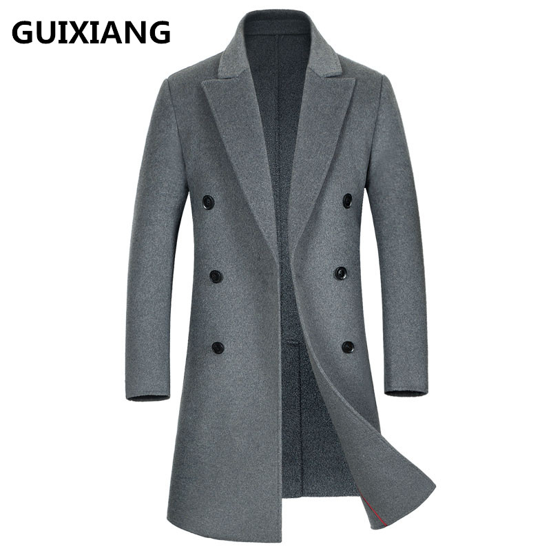 2017 High quality Men's fashion double-faced woolen trench coat jacket Men's casual woolen coats jackets wool men windbreak