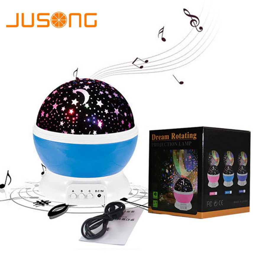 JUSONG Music Rotating Night Light Projector Spin Starry Sky Star Master Children Kid Baby Sleep Romantic Led USB Lamp Projection