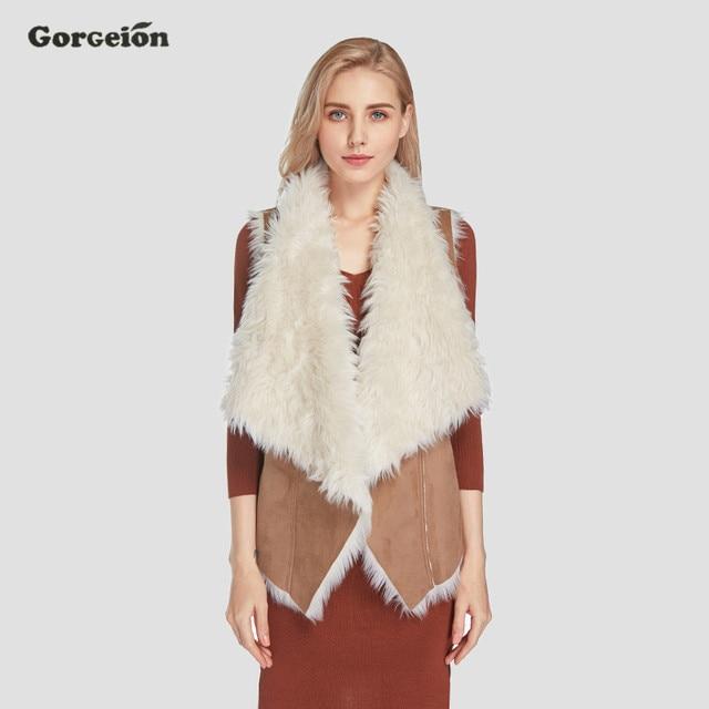 Gorgeion замшевые женские жилет 2017 осень-зима модные отложной воротник из искусственного меха Теплый жилет без рукавов куртки женщин кожа ZC-11