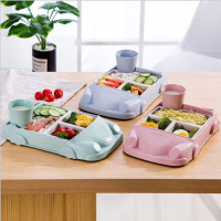 GZZT Bamboo Fiber Baby Plate Dishes Cartoon Car Shape Lunch Box Bowl Children Kid Infant Rice Feeding Plate Dinner Set