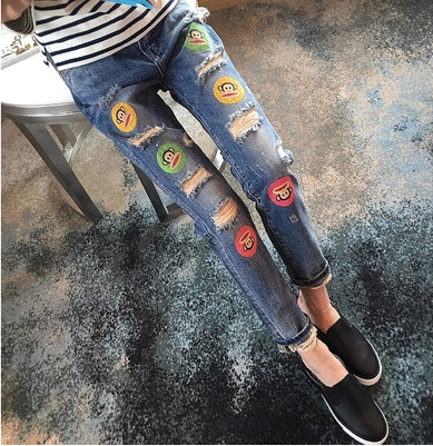 2016 new jeans monkey hole s casual smile loose baggy pants