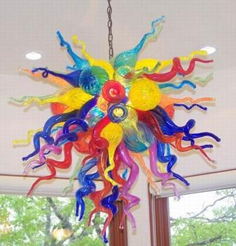 LED Ceuling พัดลมบ้านที่มีสีสันตกแต่ง Murano แก้วโคมไฟระย้าที่ทันสมัย
