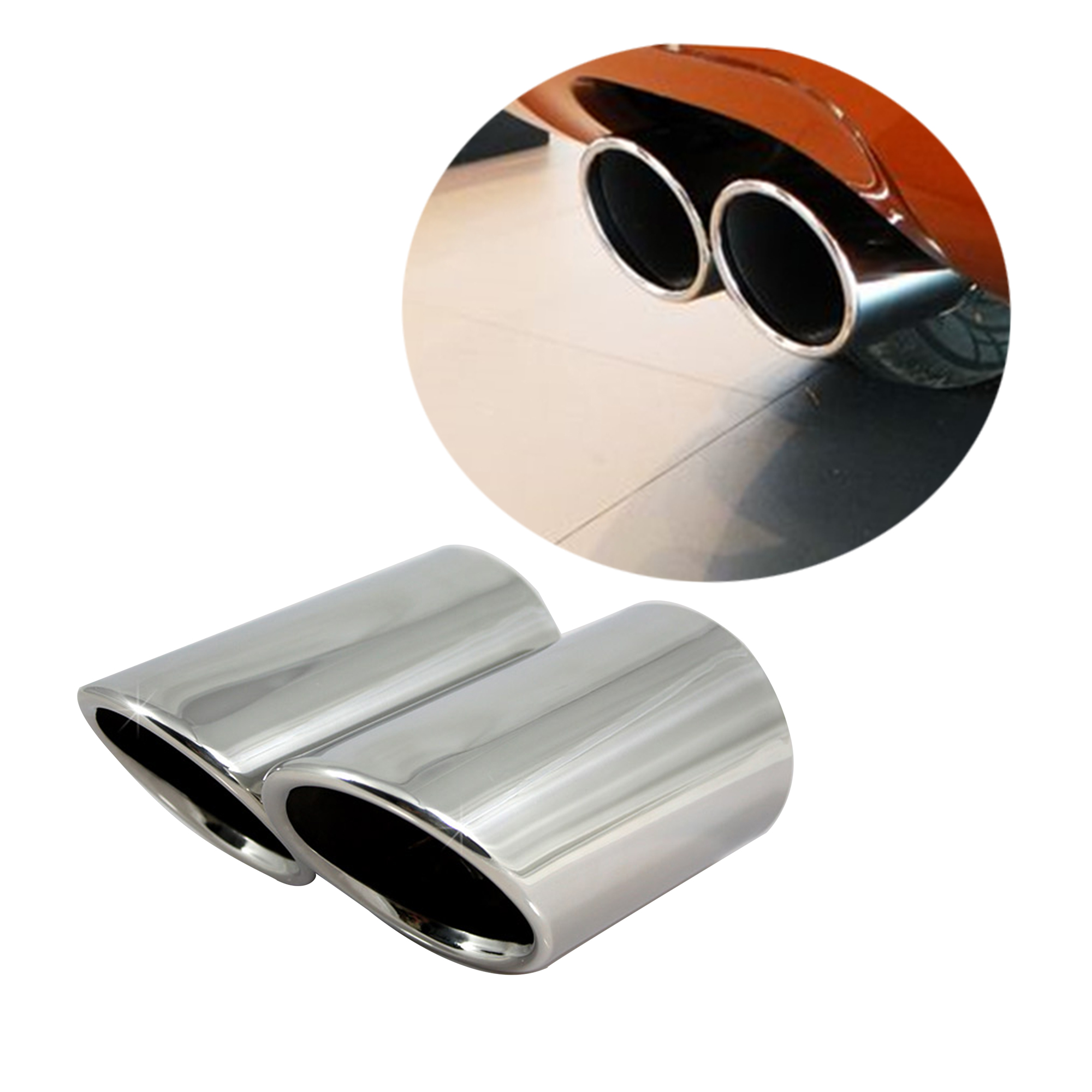Stainless Steel Exhaust Muffler Tip Tail Pipe Fit VW Passat B7 2013-2018