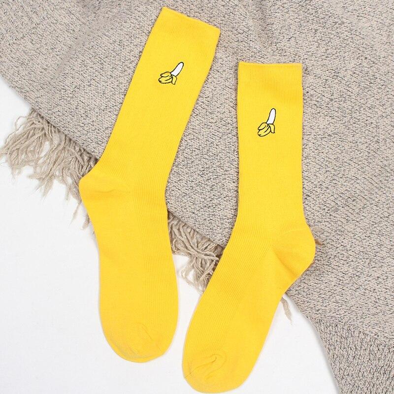 Funny Cute   Socks   Banana Cherry Avocado Fruit Pattern Sale Women Girl Harajuku Yellow Designer Retro Cotton Loose Crew   Socks