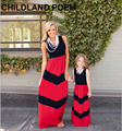 Лето семья посмотрите мать дочь платья макси полосой семьи сопоставления одежда хлопок моды мать и дочь одежда