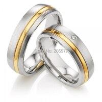 Роскошные изготовление под заказ Классический куполом профиль золото инкрустированные titanium здоровья engagment Обручальное кольцо для обувь дл