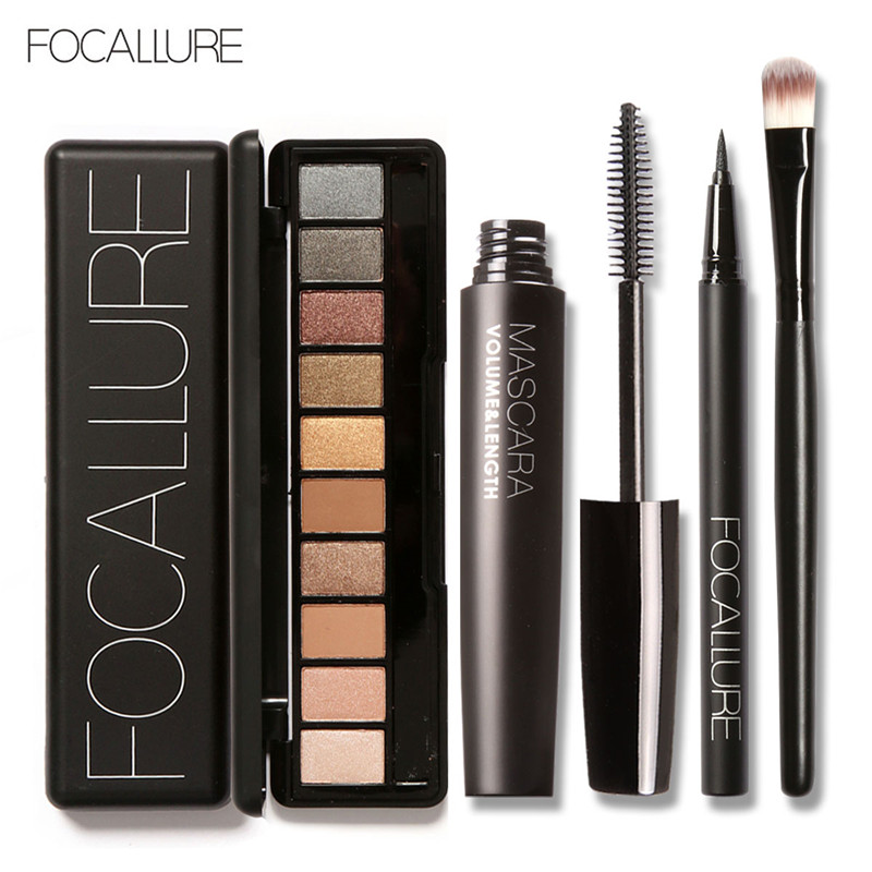 FOCALLURE 4Pcs Pro Makeup Set 10 Colors Warm Nude Colors Eyeshadow Black Mascara Eyeliner with 1Pcs Shadow Brush Kit