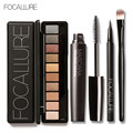 Focallure 4 unids pro set maquillaje 10 colores warm nude colores de sombra de ojos delineador rimel negro con 1 unids shadow brush kit