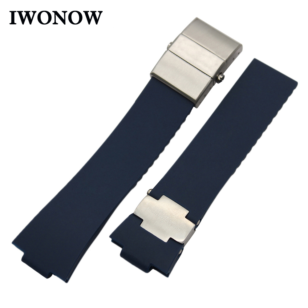 Natural Rubber Watchband 25 x 12mm for Ulysse Nardin 263 Marine 1183 Observatory Blue Seal Watch Band Steel Clasp Wrist Strap observatory