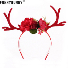 FUNNYBUNNY Cute Xmas Headband Christmas Deer Antlers Costume Ear Hair band Accessory