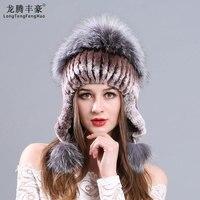 Russian caps Rabbit Rex Fur Cap Knitted Hats For Winter Women Beanies fox hair pom Russian Hats Knitting fur beanies female caps