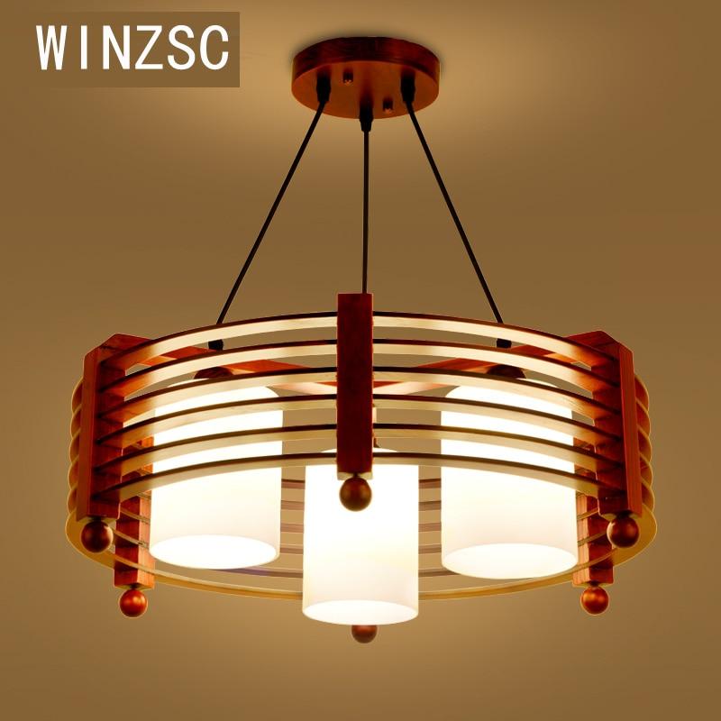 Твердые деревянные современная люстра из цельного дерева Ресторан Творческий деревянные настольные лампы круговой простой люстра три обе...